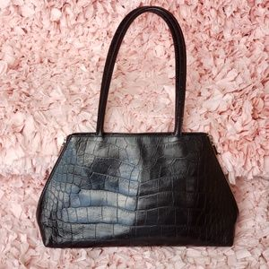 Furla Black Croc Leather Handbag Italian Designer
